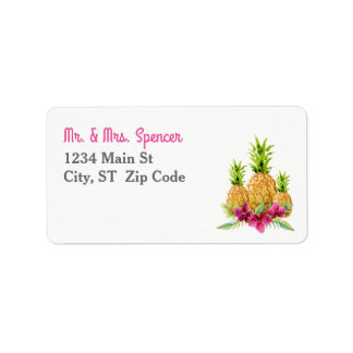 Pineapples Orchids Ferns Tropical Wedding Label