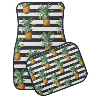 pineapples stripes grey car mat