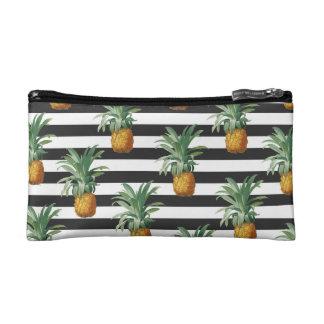 pineapples stripes grey cosmetic bag