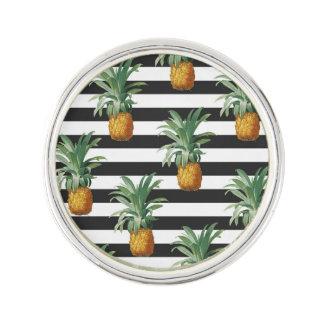 pineapples stripes grey lapel pin