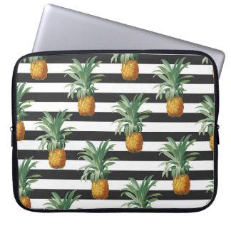 pineapples stripes grey laptop sleeve