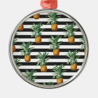 pineapples stripes grey metal ornament