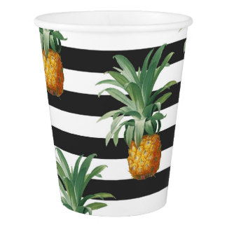 pineapples stripes grey paper cup