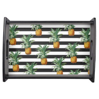 pineapples stripes grey serving tray