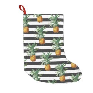 pineapples stripes grey small christmas stocking