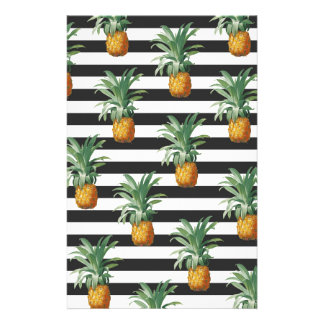pineapples stripes grey stationery