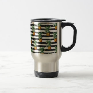 pineapples stripes grey travel mug