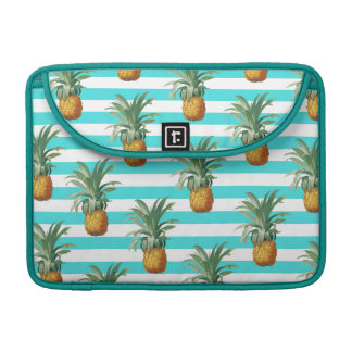 Pineapples Stripes Summer Pattern Teal Sleeve For MacBooks