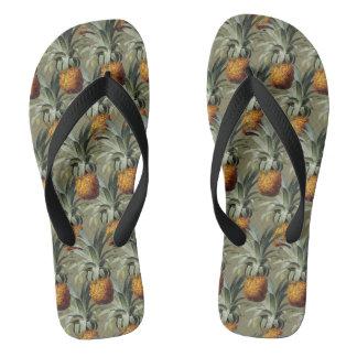 Pineapples Tan Background Thongs