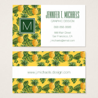 Pineapples & Tropical Leaves On Gold Business Card