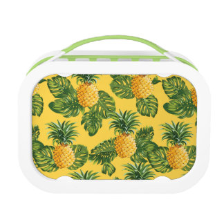 Pineapples & Tropical Leaves On Gold Lunchbox