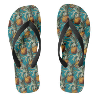 Pineapples Turquoise Blue Background Thongs