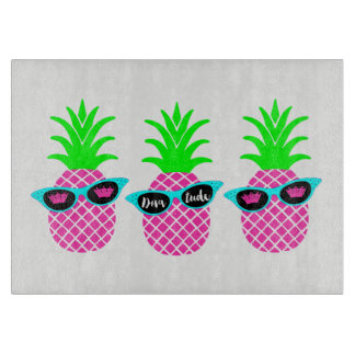 """Pineapples with """"DIVAtude"""" and Tiaras Cutting Board"""