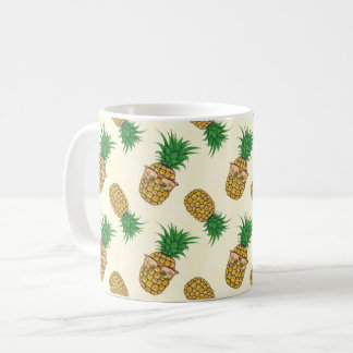 Pineapples with Sunglasses Hand Painted Coffee Mug