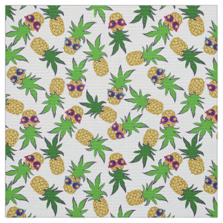 Pineapples with Sunglasses Pattern Fabric