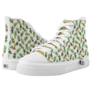 Pineapples with Sunglasses Pattern Printed Shoes