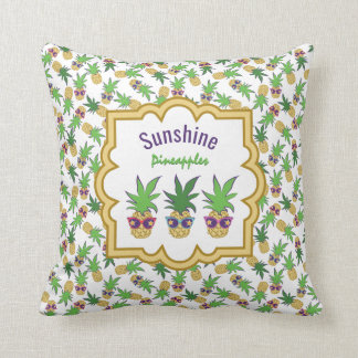 Pineapples with Sunglasses Pattern Throw Pillow