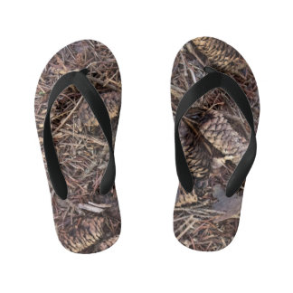 Pinecones and Pine Needles on Forest Floor Kid's Thongs