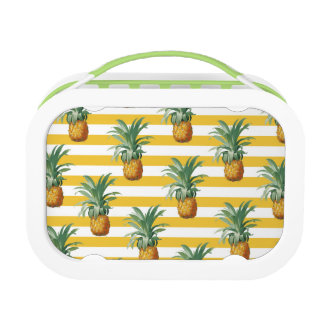 pinepples yellow stripes lunch box
