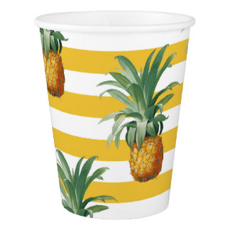 pinepples yellow stripes paper cup