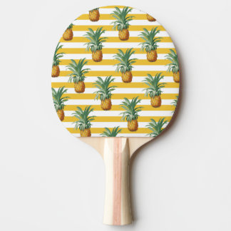 pinepples yellow stripes ping pong paddle