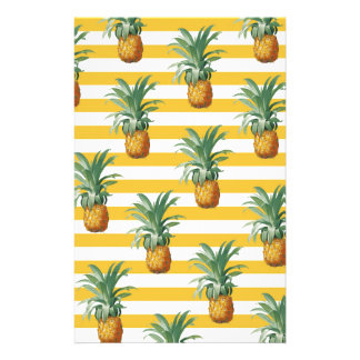 pinepples yellow stripes stationery