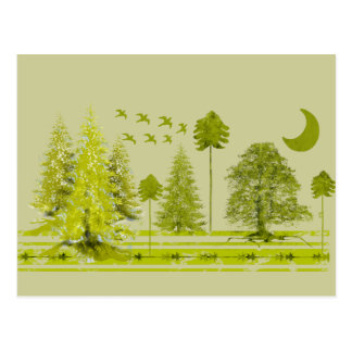 Pines with Moon-Customize Change BackGround Color Postcard