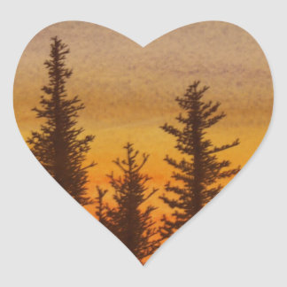 Pinetree Sunset Heart Sticker
