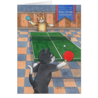 Ping Pong Cats Birthday Bud & Tony Notecard
