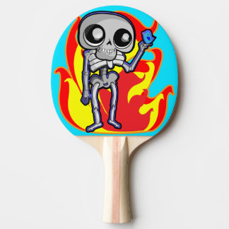 Ping pong paddle, red rubber back with skeleton ping pong paddle