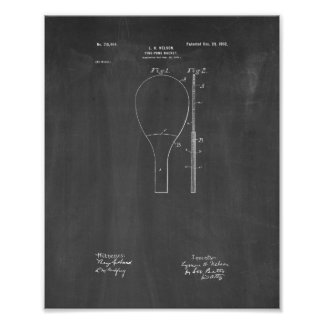 Ping-pong Racket Patent - Chalkboard Poster