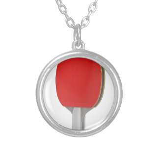 Ping pong racket silver plated necklace