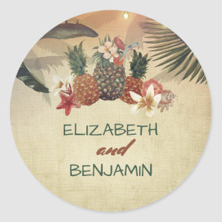 Piniapple and Palm Tree Rustic Beach Wedding Classic Round Sticker