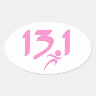 Pink 13.1 half-marathon stickers
