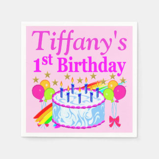 PINK 1ST BIRTHDAY CAKE PERSONALIZED PAPER NAPKINS
