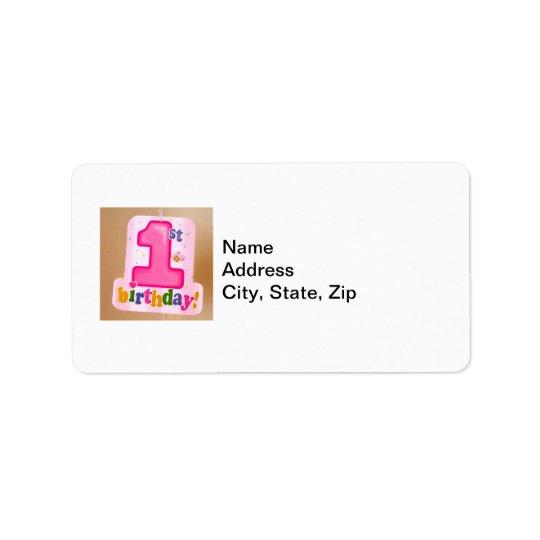 Pink 1st Birthday Tag on Door Address Label