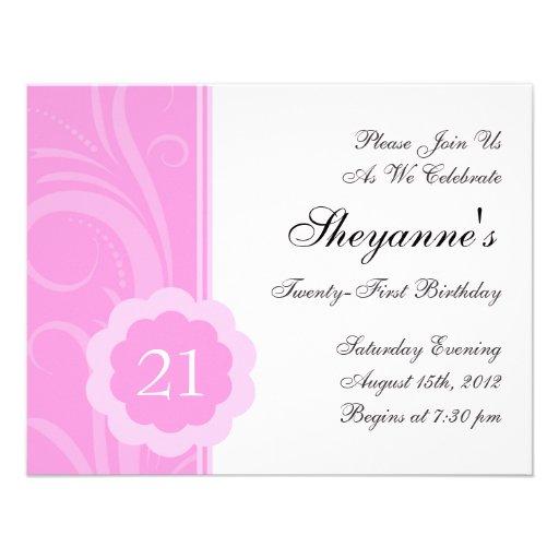 Pink 21st Birthday Party Invitation