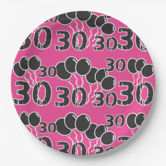 PINK 30th Birthday 9 Inch Paper Plate