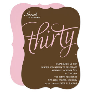 Pink 30th Birthday Party 13 Cm X 18 Cm Invitation Card