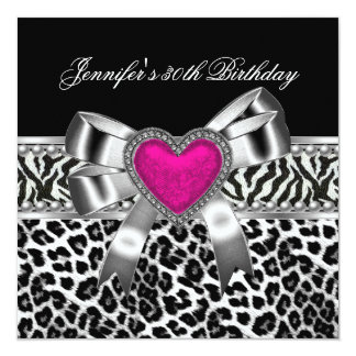 Pink 30th Birthday Party Zebra Black Leopard Card