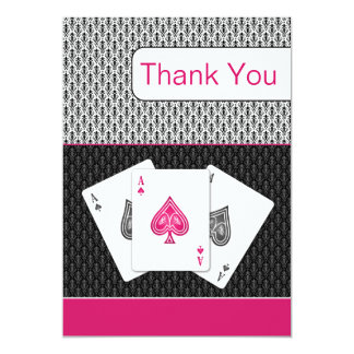 pink 3 aces vegas wedding Thank You cards Custom Announcements