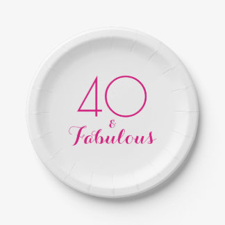 Pink 40 and Fabulous Typography Party Plates 7 Inch Paper Plate