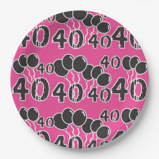 PINK 40th Birthday Paper Plate
