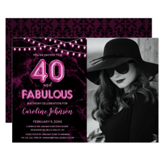 Pink 40th Birthday Party  - 40 & Fabulous Card