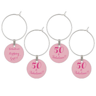 Pink 50 and Fabulous Birthday Celebration Wine Charm