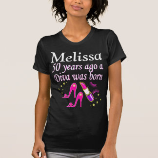 PINK 50TH BIRTHDAY DIVA PERSONALIZED T SHIRT