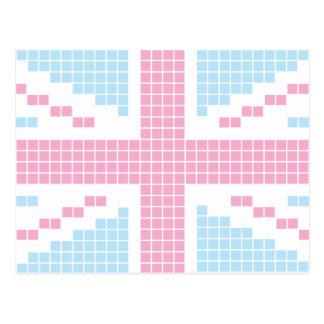 Pink 8-bit Pixels Union Jack British(UK) Flag Postcards