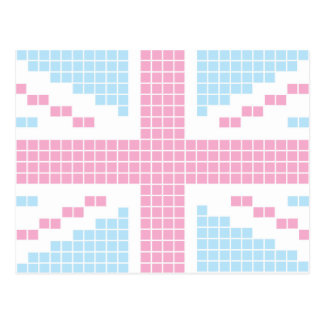 Pink 8-bit Pixels Union Jack British(UK) Flag Postcard