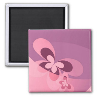 Pink Abstract Butterfly Square Magnet