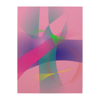 Pink Abstract Clear-Cut Outlines Wood Canvases